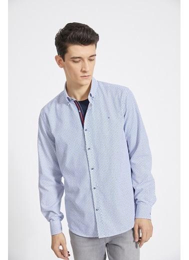 Avva Erkek  Baskılı Düğmeli Yaka Gömlek A02Y2154 Lacivert